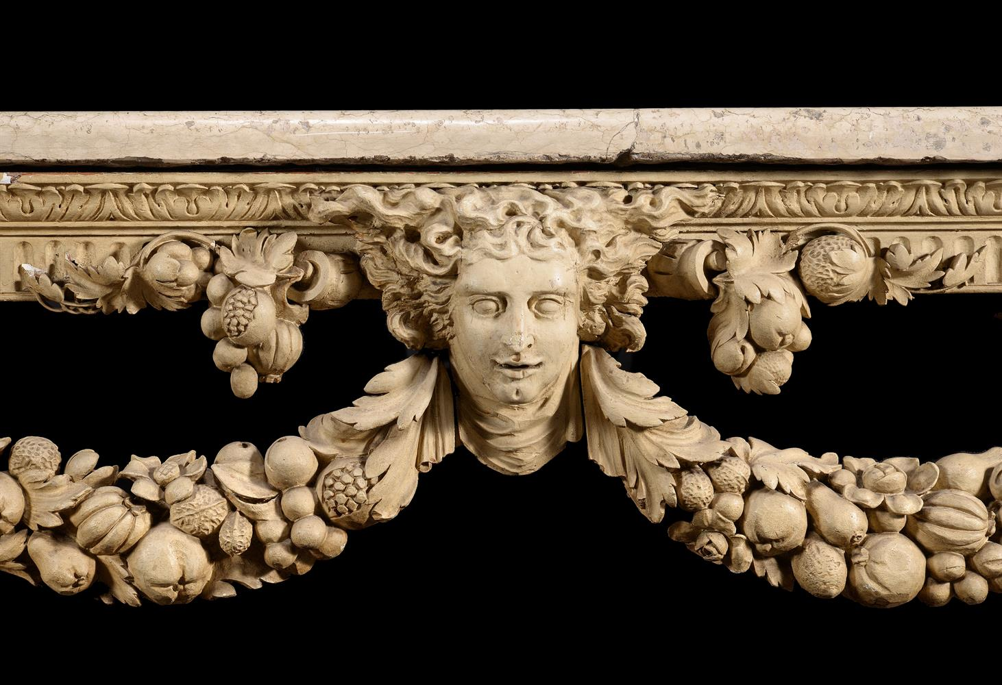 A CREAM PAINTED CARVED WOOD CONSOLE TABLE, IN THE MANNER OF WILLIAM KENT - Image 3 of 9