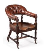 A VICTORIAN MAHOGANY AND LEATHER UPHOLSTERED LIBRARY CHAIR, CIRCA 1890