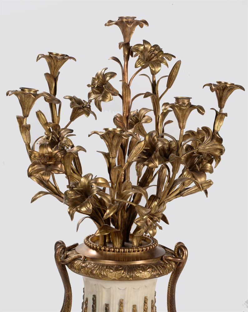 A PAIR OF FRENCH MARBLE AND ORMOLU SEVEN LIGHT CANDELABRA, CIRCA 1860 - Image 4 of 6