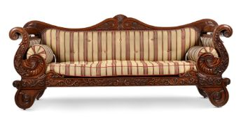 A WILLIAM IV CARVED MAHOGANY AND UPHOLSTERED SOFA, CIRCA 1835