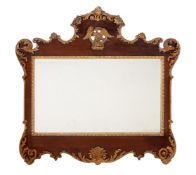 A 'RED WALNUT' AND CARVED GILTWOOD WALL MIRROR, 19TH CENTURY