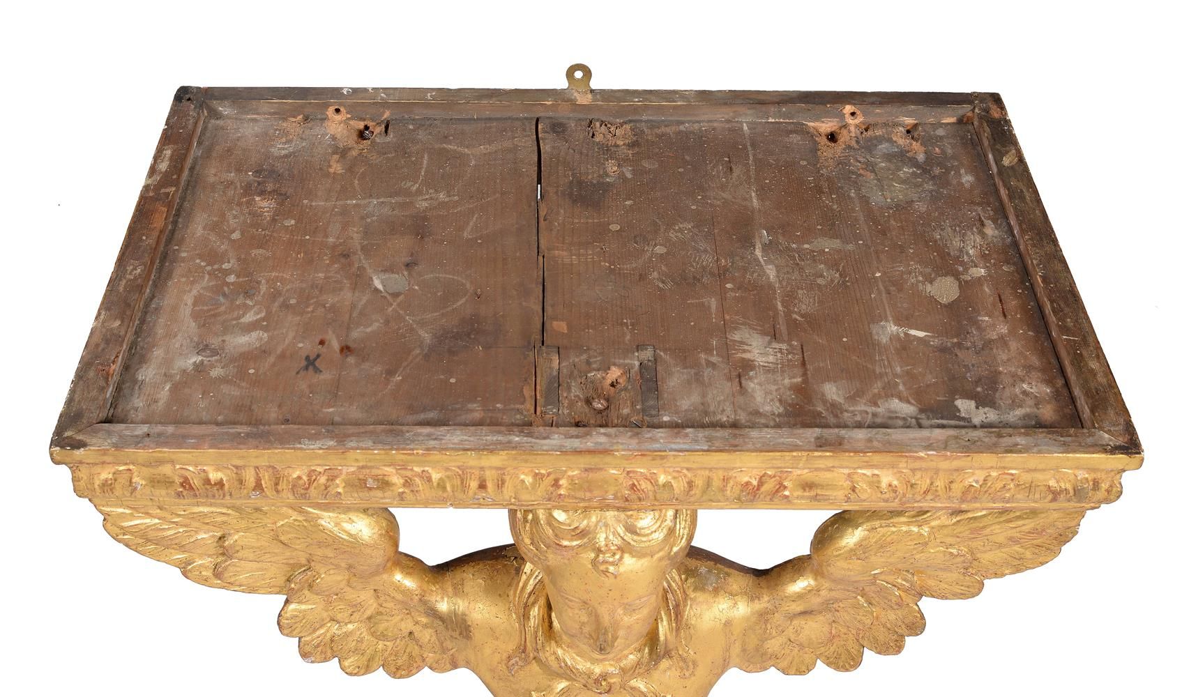 A PAIR OF GILTWOOD CONSOLE TABLES, SECOND QUARTER 18TH CENTURY AND LATER - Image 5 of 7