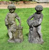 A PAIR OF COMPOSITION STONE CHERUBS EMBLEMATIC OF FIRE AND WATER, 20TH CENTURY