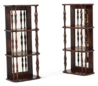 A PAIR OF GEORGE IV SIMULATED ROSEWOOD HANGING WALL SHELVES, CIRCA 1825