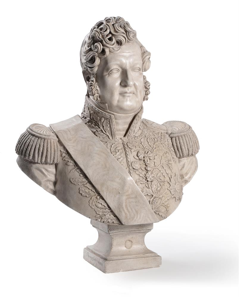 A PLASTER BUST OF LOUIS PHILIPPE I (1773-1850), ON A MAHOGANY PEDESTAL STAND, 20TH CENTURY - Image 2 of 7