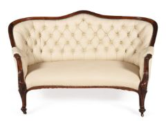 Y A VICTORIAN ROSEWOOD AND LEATHER UPHOLSTERED SOFA, CIRCA 1860