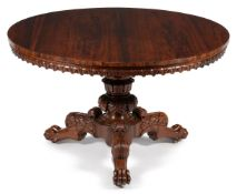 Y A GEORGE IV CARVED ROSEWOOD CENTRE TABLE, CIRCA 1825, IN THE MANNER OF GILLOWS