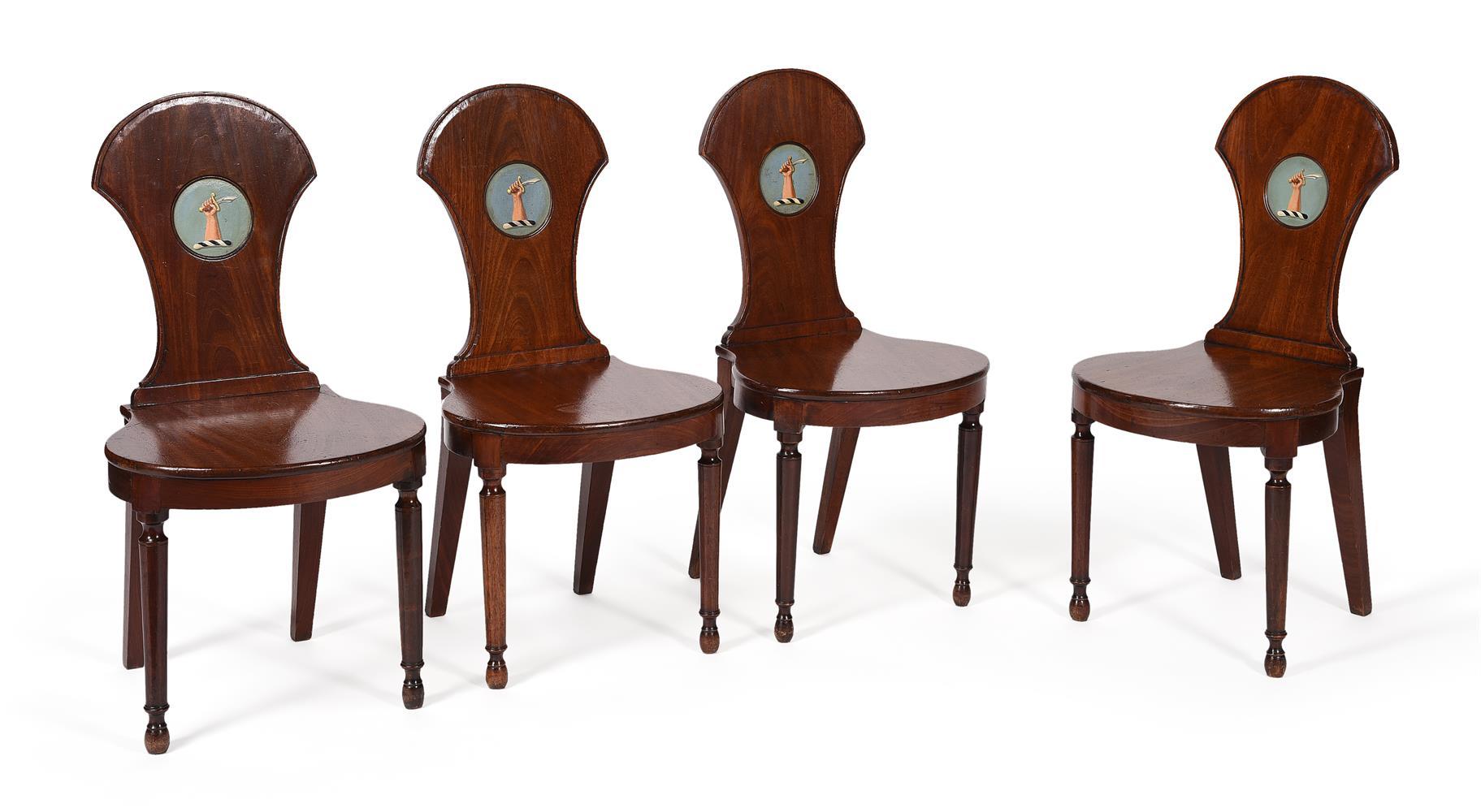A SET OF FOUR LATE GEORGE III MAHOGANY HALL CHAIRS, CIRCA 1810