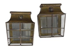 A PAIR OF BRASS AND GLAZED DISPLAY CABINETS, CIRCA 1815 AND LATER