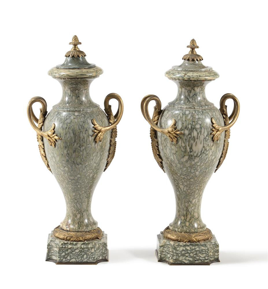 A PAIR OF CONTINENTAL CIPOLLINO VERDE MARBLE AND GILT METAL MOUNTED URNS, LATE 19TH/20TH CENTURY