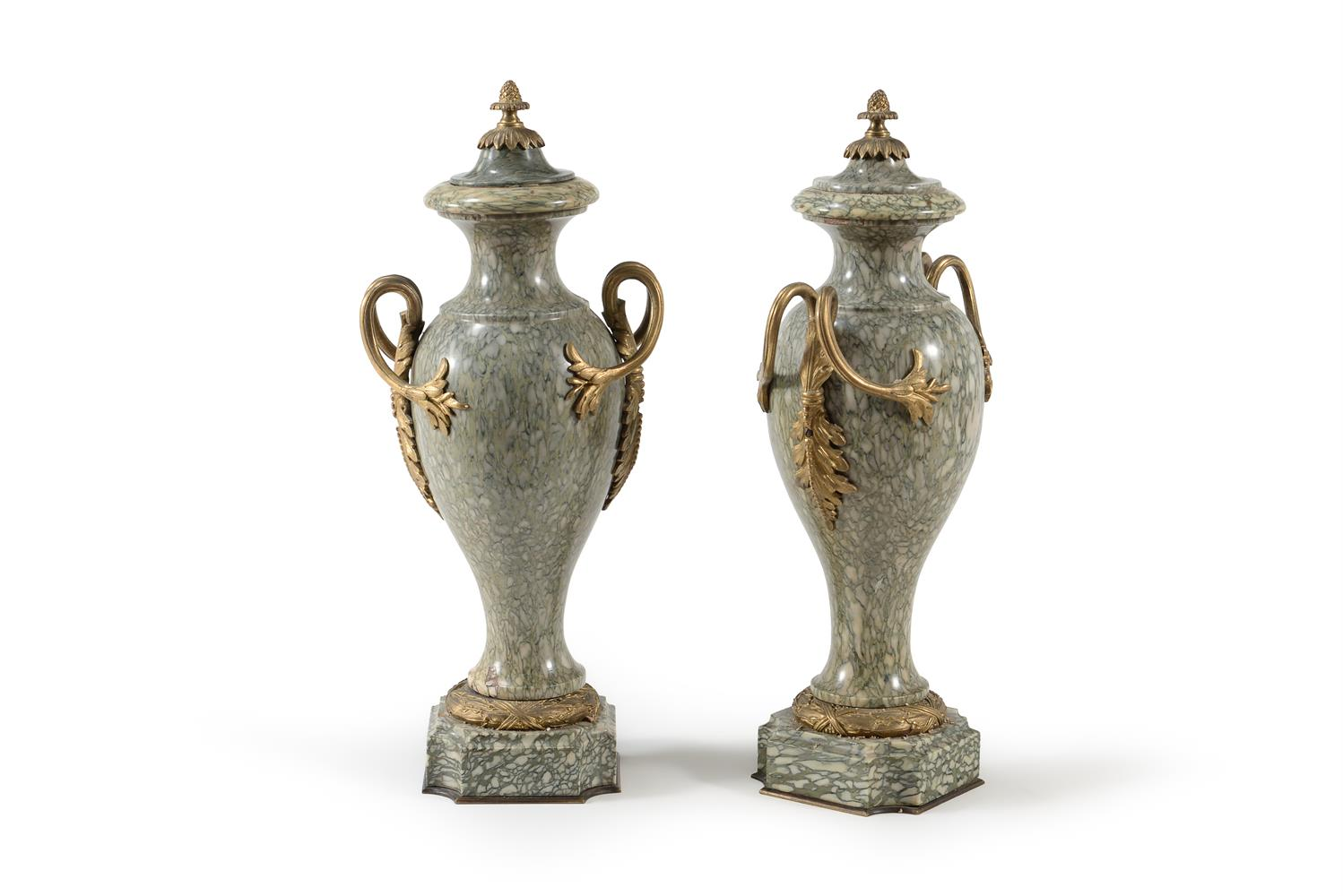 A PAIR OF CONTINENTAL CIPOLLINO VERDE MARBLE AND GILT METAL MOUNTED URNS, LATE 19TH/20TH CENTURY - Image 2 of 3