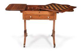 Y A REGENCY PADOUK, EBONY AND SATINWOOD CROSSBANDED PEMBROKE GAMES TABLE, CIRCA 1815
