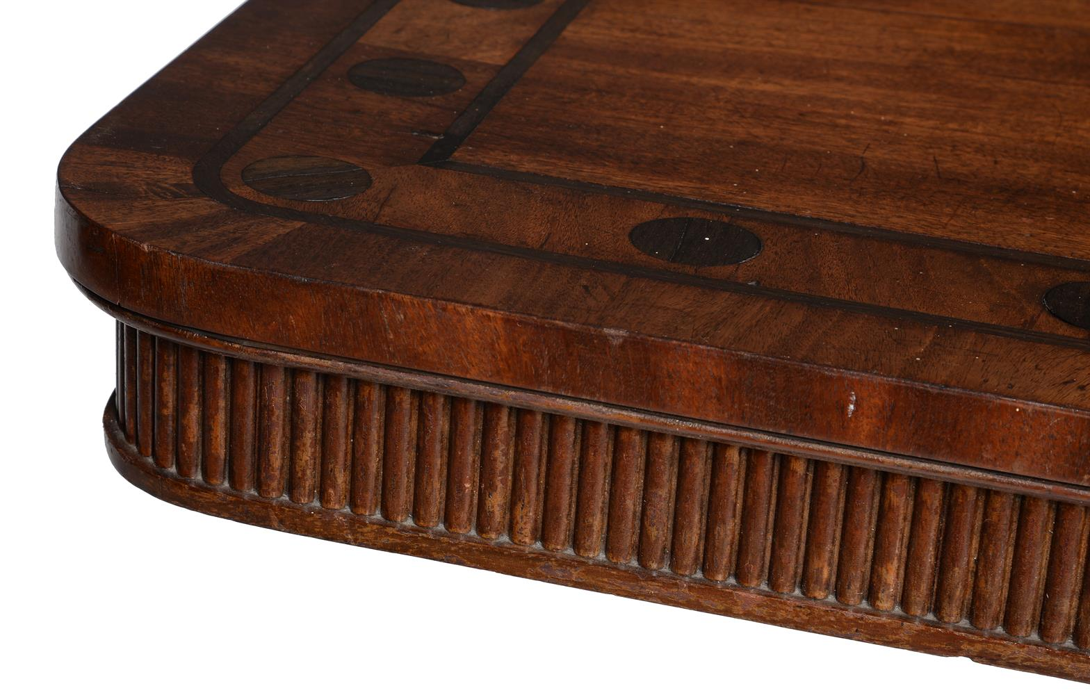 Y A PAIR OF REGENCY MAHOGANY AND MACASSAR EBONY INLAID LIBRARY OR SIDE TABLES, CIRCA 1820 - Image 5 of 5