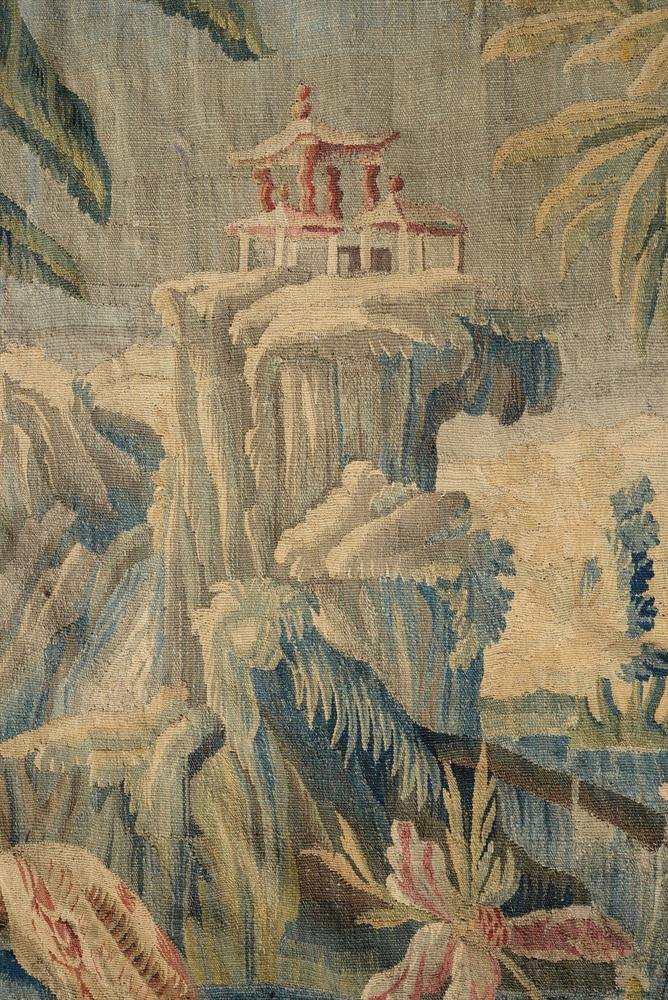 A FRENCH EXOTIC CHINOISERIE LANDSCAPE TAPESTRY, MID-18TH CENTURY - Image 3 of 6