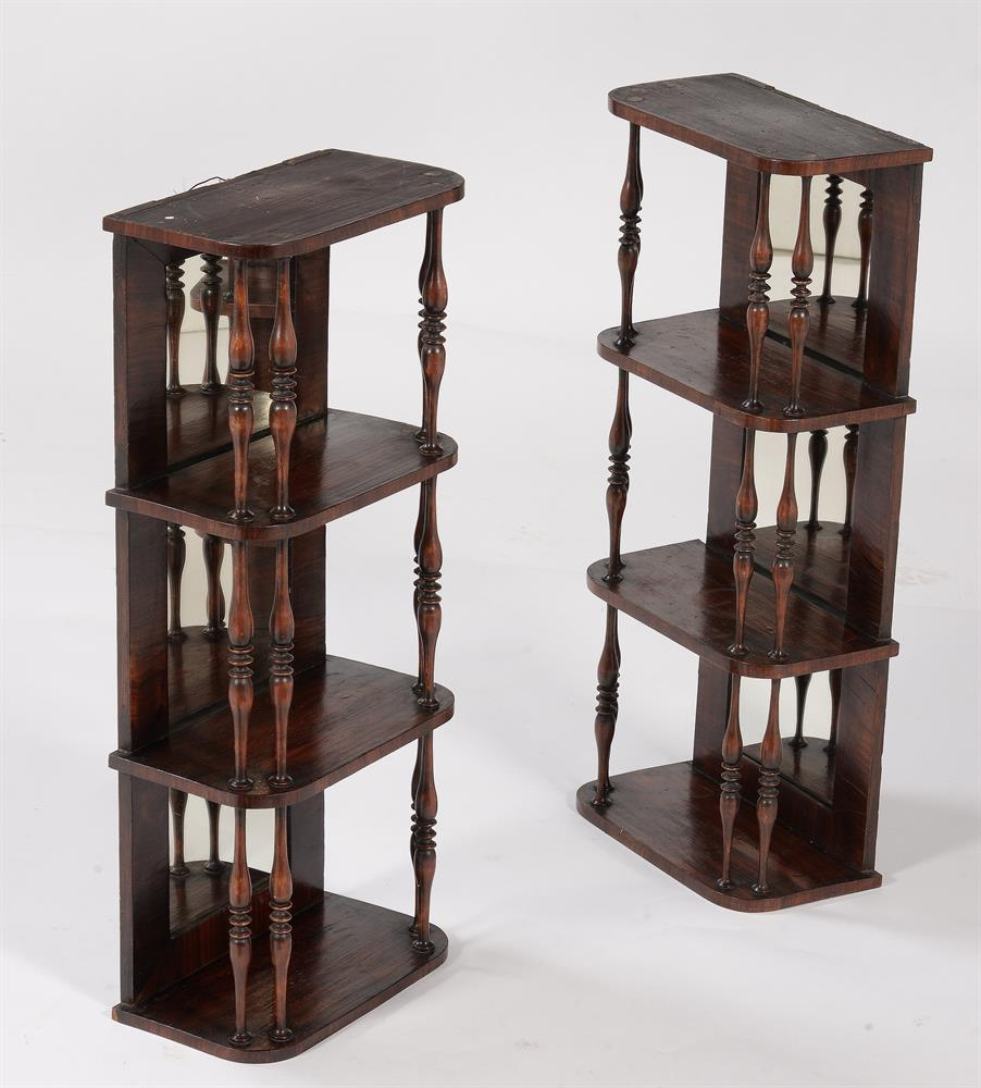 A PAIR OF GEORGE IV SIMULATED ROSEWOOD HANGING WALL SHELVES, CIRCA 1825 - Image 5 of 5