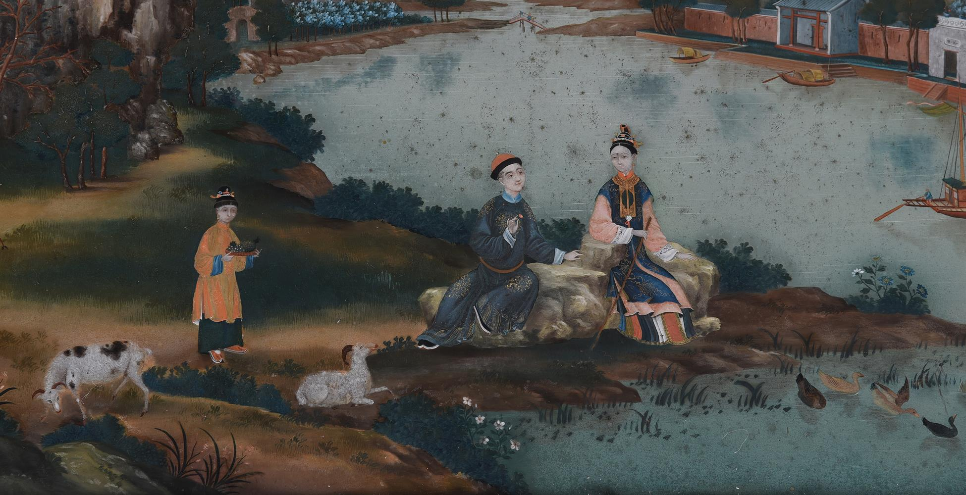 A CHINESE EXPORT REVERSE-PAINTED WALL MIRROR, THIRD QUARTER 18TH CENTURY - Image 3 of 5
