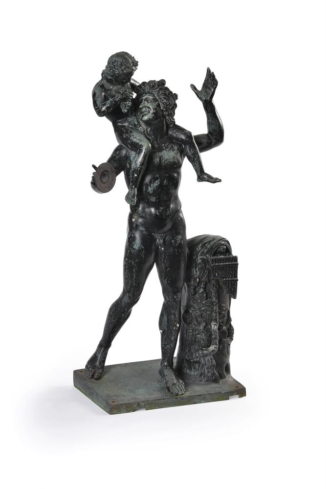 AFTER THE ANTIQUE, A BRONZE GROUP OF A SATYR WITH THE INFANT BACCHUS, LATE 19TH/EARLY 20TH CENTURY