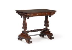 AN ANGLO INDIAN CARVED MAHOGANY WRITING TABLE, CIRCA 1825