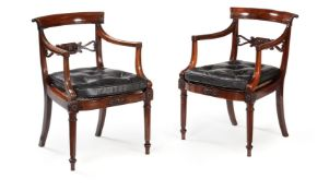 Y A PAIR OF GEORGE IV ROSEWOOD OPEN ARMCHAIRS, CIRCA 1825, IN THE MANNER OF GILLOWS