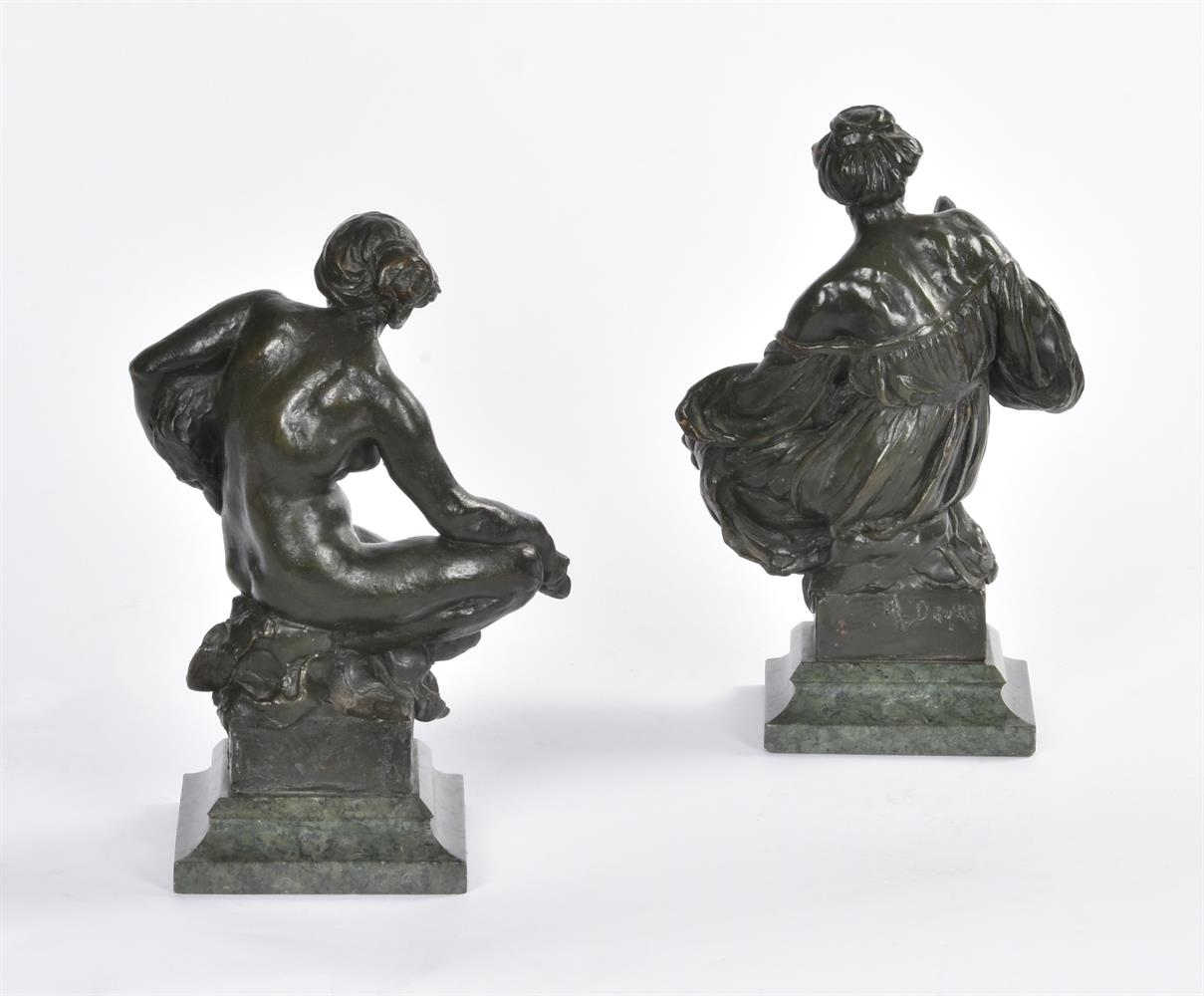 ALFRED DRURY (1856-1944), A PAIR OF BRONZE FEMALE FIGURES OF DRAMA AND LITERATURE - Image 4 of 6