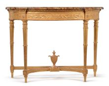 A GILTWOOD DEMI-LUNE CONSOLE TABLE, 19TH CENTURY