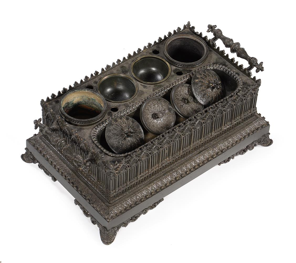 A FRENCH BRONZE GOTHIC INKSTAND, CIRCA 1840 - Image 4 of 4