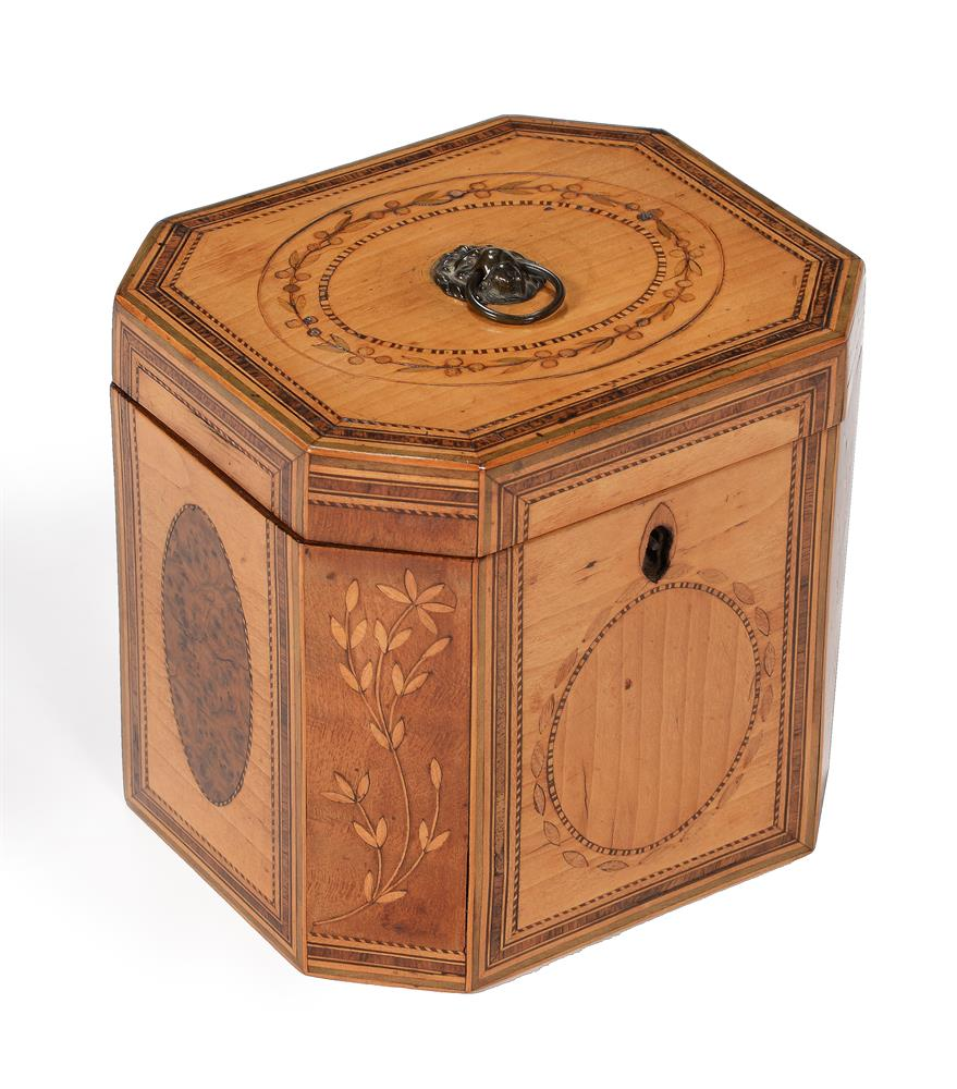 A GEORGE III SYCAMORE, BURR YEW, FRUITWOOD, AND SPECIMEN MARQUETRY TEA CADDY, CIRCA 1790