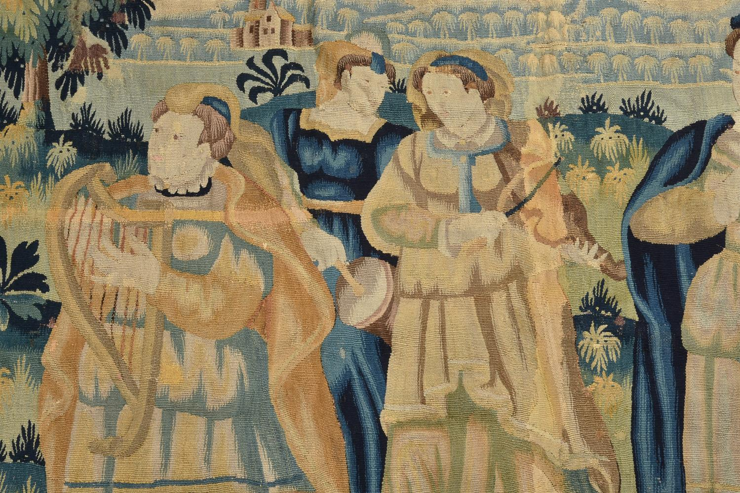 A FLEMISH TAPESTRY FRAGMENT DEPICTING MUSICIANS, LATE 17TH CENTURY - Image 2 of 4