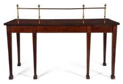 Y A GEORGE III MAHOGANY, GONCALO ALVES CROSSBANDED AND LINE INLAID SERVING TABLE, CIRCA 1790