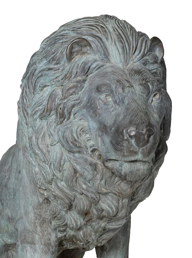 A LARGE PAIR OF BRONZE LIONS, OF RECENT MANUFACTURE - Image 3 of 4