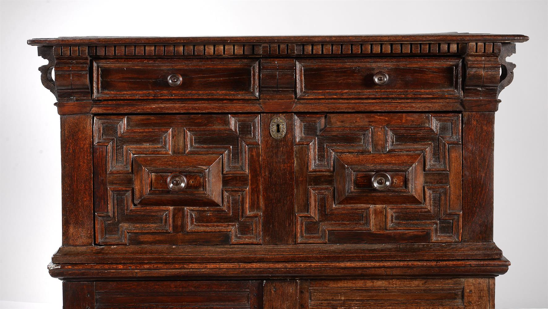 A CHARLES II OAK AND SNAKEWOOD CHEST OF DRAWERS, CIRCA 1680 - Image 2 of 2
