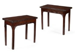 A PAIR OF EARLY GEORGE III MAHOGANY FOLDING TABLES, CIRCA 1760