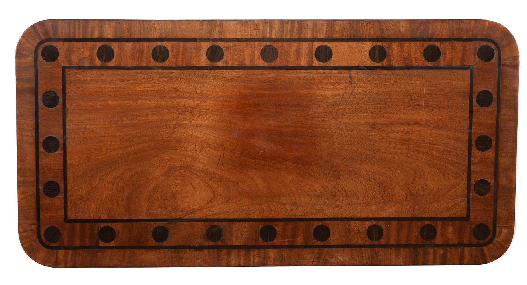 Y A PAIR OF REGENCY MAHOGANY AND MACASSAR EBONY INLAID LIBRARY OR SIDE TABLES, CIRCA 1820 - Image 4 of 5