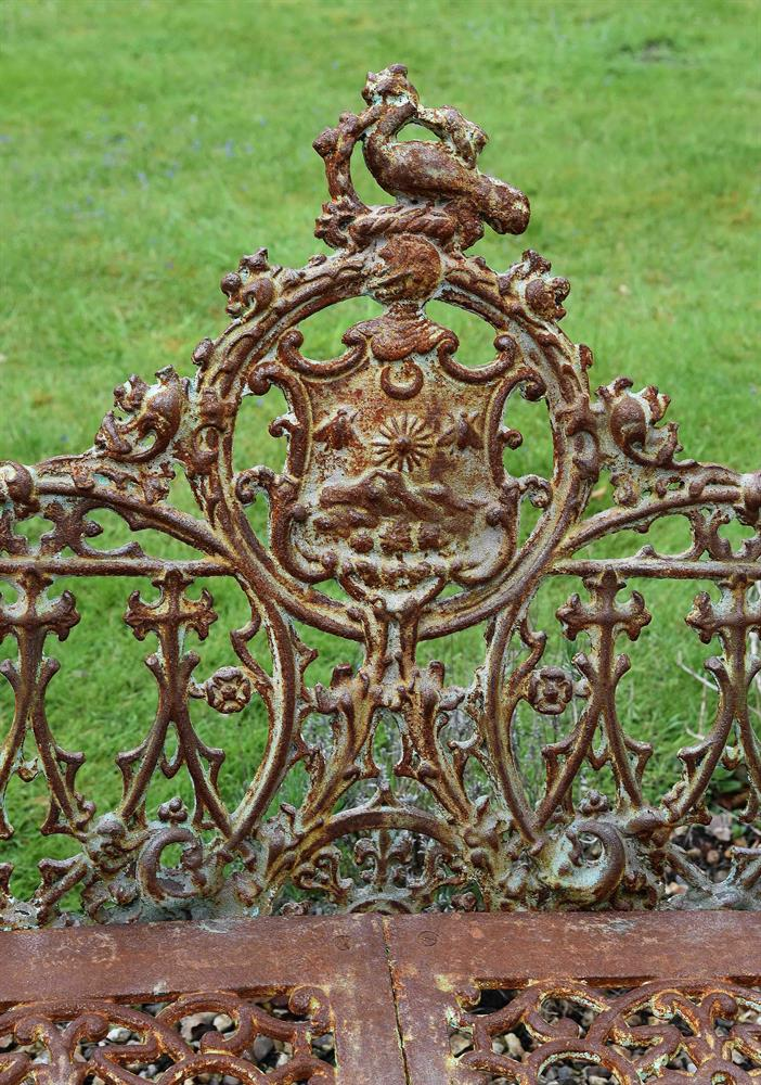 A CAST IRON BENCH IN THE COALBROOKDALE 'GOTHIC' PATTERN, LATE 20TH CENTURY - Image 2 of 2