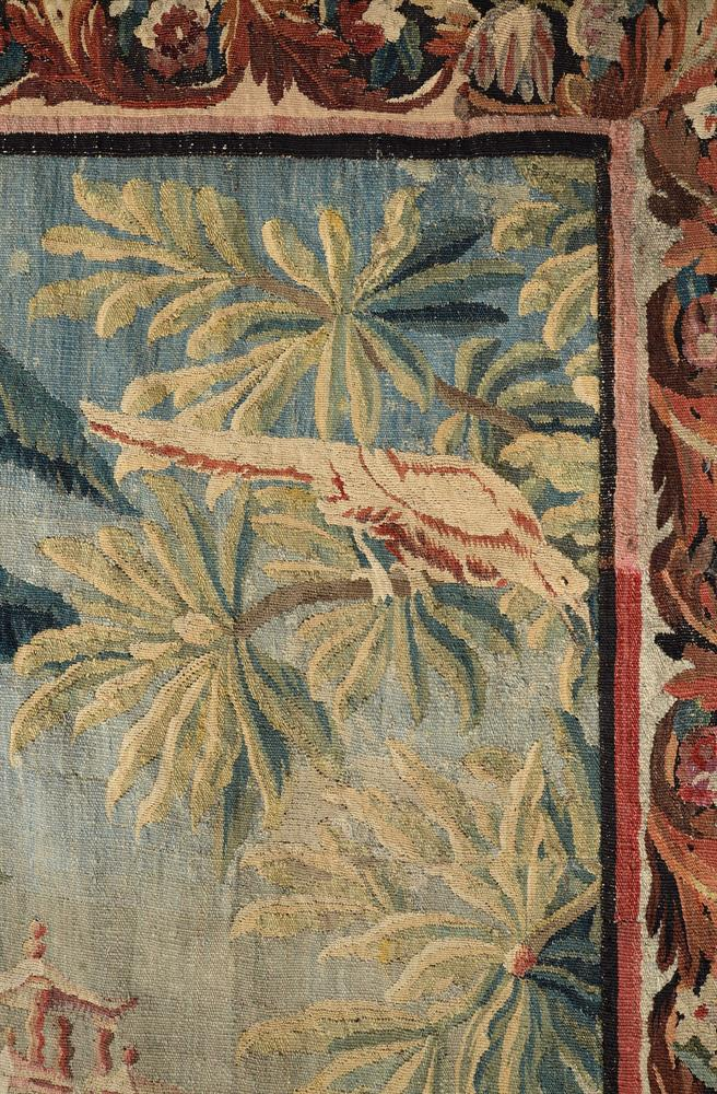 A FRENCH EXOTIC CHINOISERIE LANDSCAPE TAPESTRY, MID-18TH CENTURY - Image 6 of 6