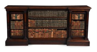 Y A WILLIAM IV AMBOYNA AND ROSEWOOD OPEN BOOKCASE, CIRCA 1835