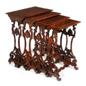 Y A WILLIAM IV ROSEWOOD NEST OF QUARTETTO TABLES, BY ARTHUR BLAIN OF LIVERPOOL, CIRCA 1835