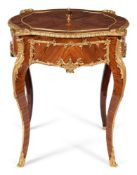 Y A FRENCH TULIPWOOD AND ORMOLU MOUNTED JARDINIERE TABLE, LATE 19TH/EALRY 20TH CENTURY