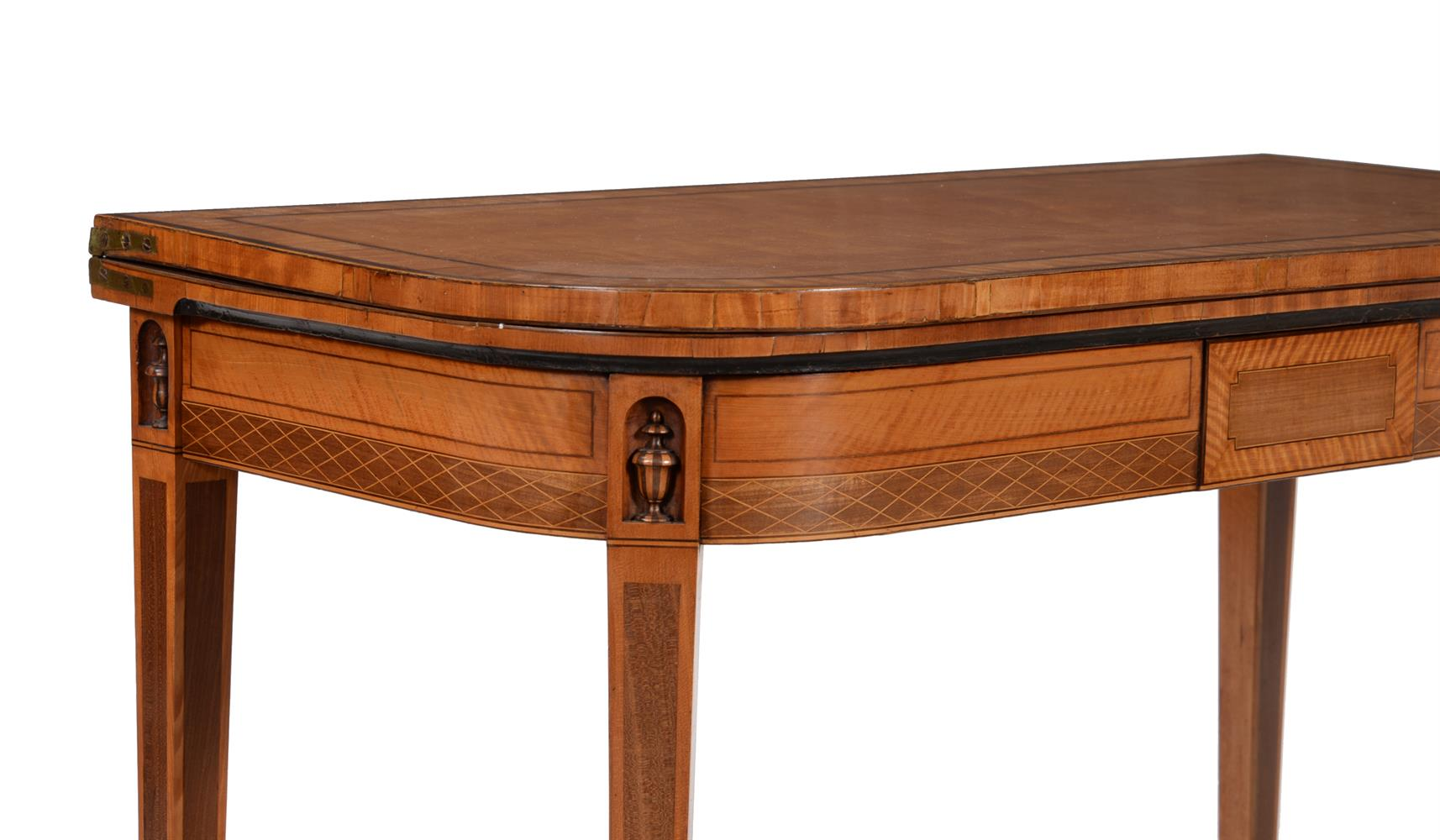 Y A GEORGE III SATINWOOD, TULIPWOOD AND PURPLE HEART BANDED FOLDING CARD TABLE, CIRCA 1790 - Image 2 of 6