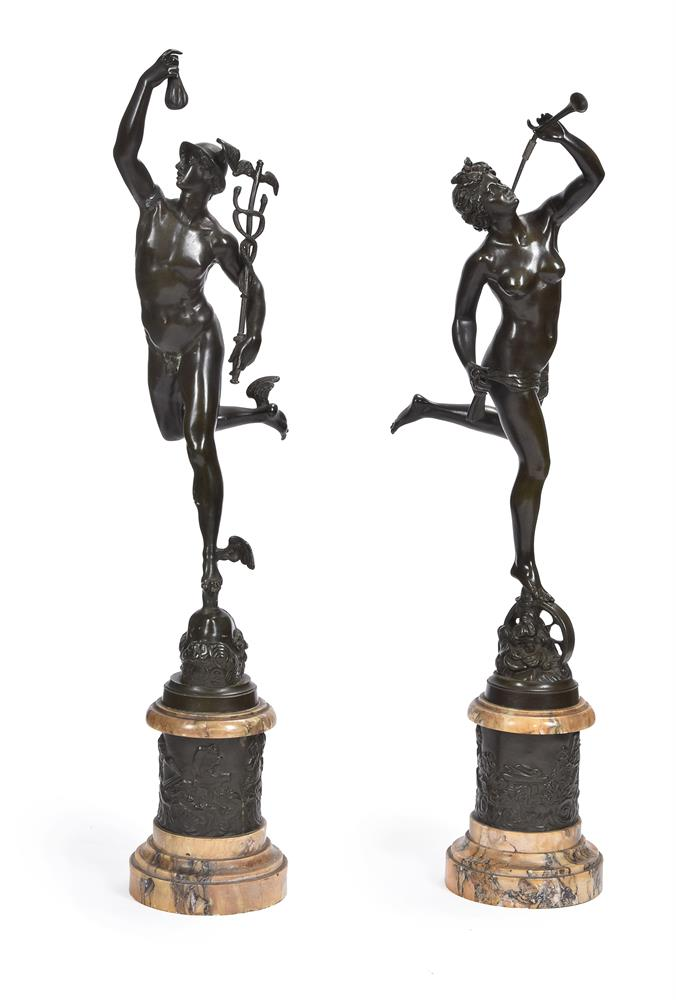 AFTER GIAMBOLOGNA, A PAIR OF BRONZE FIGURES OF MERCURY AND FORTUNA, SECOND HALF 19TH CENTURY