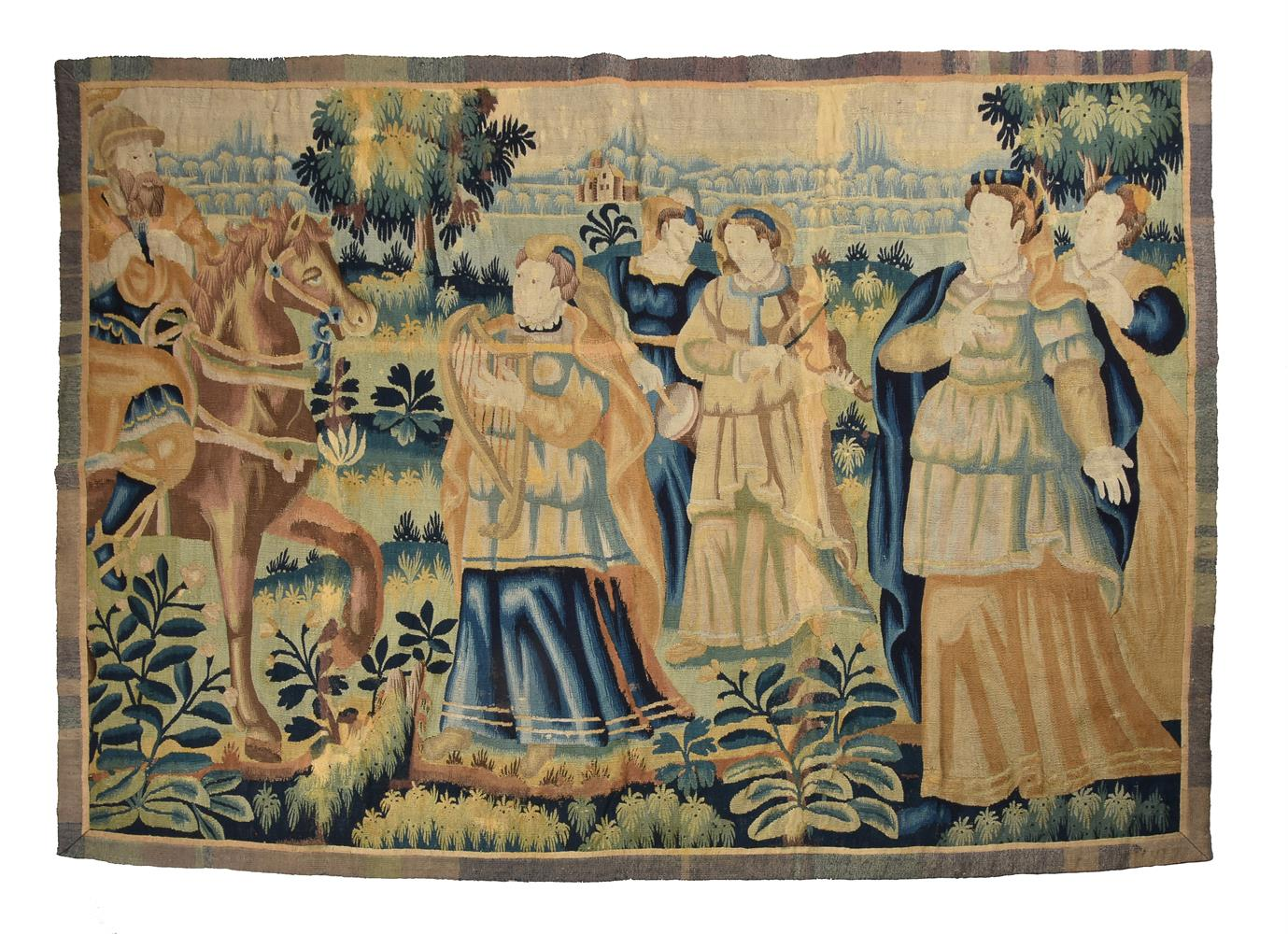 A FLEMISH TAPESTRY FRAGMENT DEPICTING MUSICIANS, LATE 17TH CENTURY