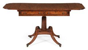 A REGENCY MAHOGANY AND COROMANDEL CROSSBANDED SOFA TABLE, CIRCA 1815