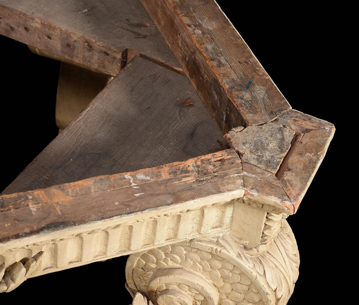 A CREAM PAINTED CARVED WOOD CONSOLE TABLE, IN THE MANNER OF WILLIAM KENT - Image 9 of 9