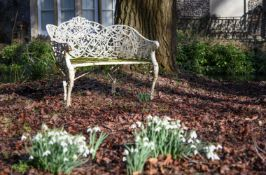 A RARE COALBROOKDALE WHITE PAINTED CAST IRON GARDEN SEAT IN THE 'PASSION FLOWER' DESIGN
