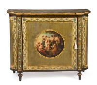 A GEORGE III GREEN AND POLYCHROME PAINTED SIDE CABINET, CIRCA 1790