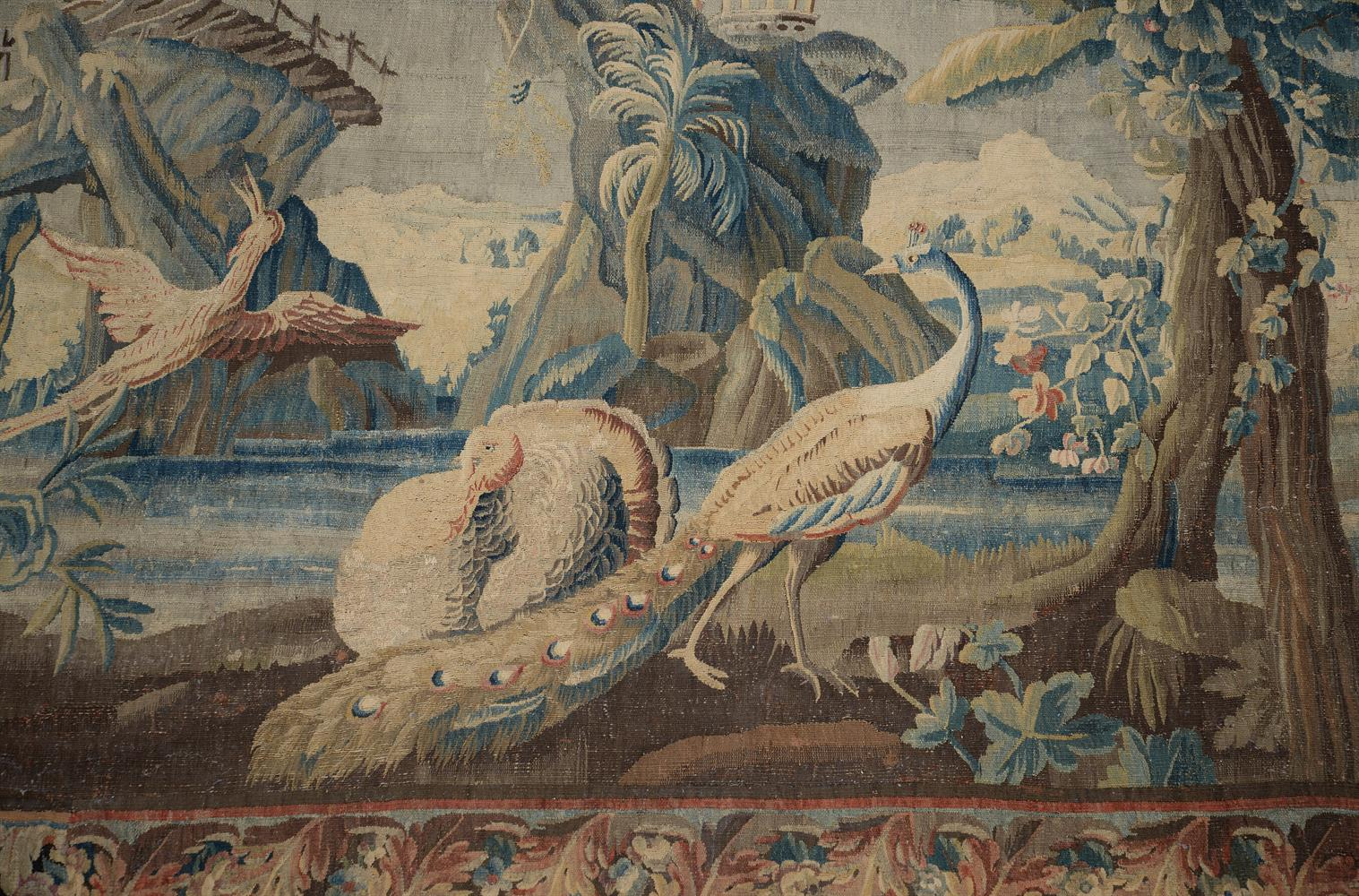 A FRENCH EXOTIC CHINOISERIE LANDSCAPE TAPESTRY, MID-18TH CENTURY - Image 4 of 6