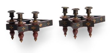 A PAIR OF POLYCHROME PAINTED THREE LIGHT WALL LIGHTS, CIRCA 1870, IN THE MANNER OF WILLIAM BURGES
