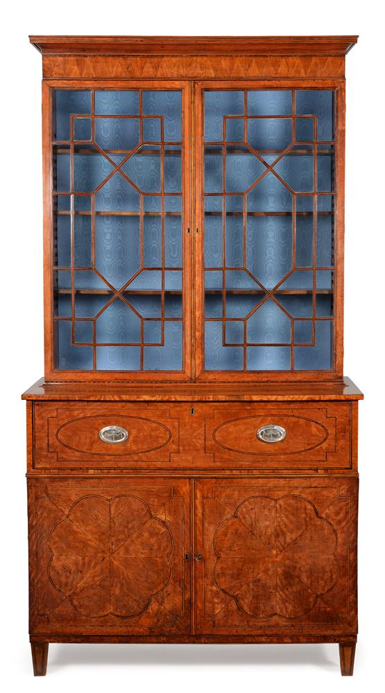 A GEORGE III SATINWOOD AND LINE INLAID SECRETAIRE BOOKCASE, CIRCA 1790 - Image 2 of 6