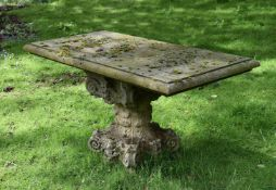 A CARVED STONE TABLE, 20TH CENTURY