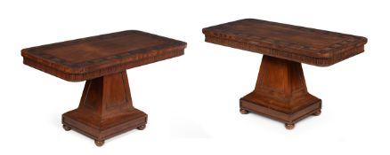 Y A PAIR OF REGENCY MAHOGANY AND MACASSAR EBONY INLAID LIBRARY OR SIDE TABLES, CIRCA 1820